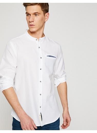Koton Hakim Yaka Slim Fit Gömlek Beyaz